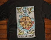 Wheel of Fortune Tarot Card T-Shirt, Major Arcana, Minor Arcana, Ghost Hunter, Paranormal, Psychic, Witch, Wizard, Warlock
