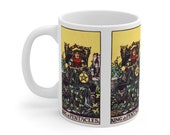 King of Pentacles Tarot Card Mug 11oz, Psychic, Witch, Rider Waite Deck