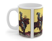 Knight of Pentacles Tarot Card Mug 11oz, Psychic, Witch, Rider Waite Deck