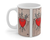 3 of Hearts Tarot Card Mug 11oz, Psychic, Witch, Rider Waite Deck