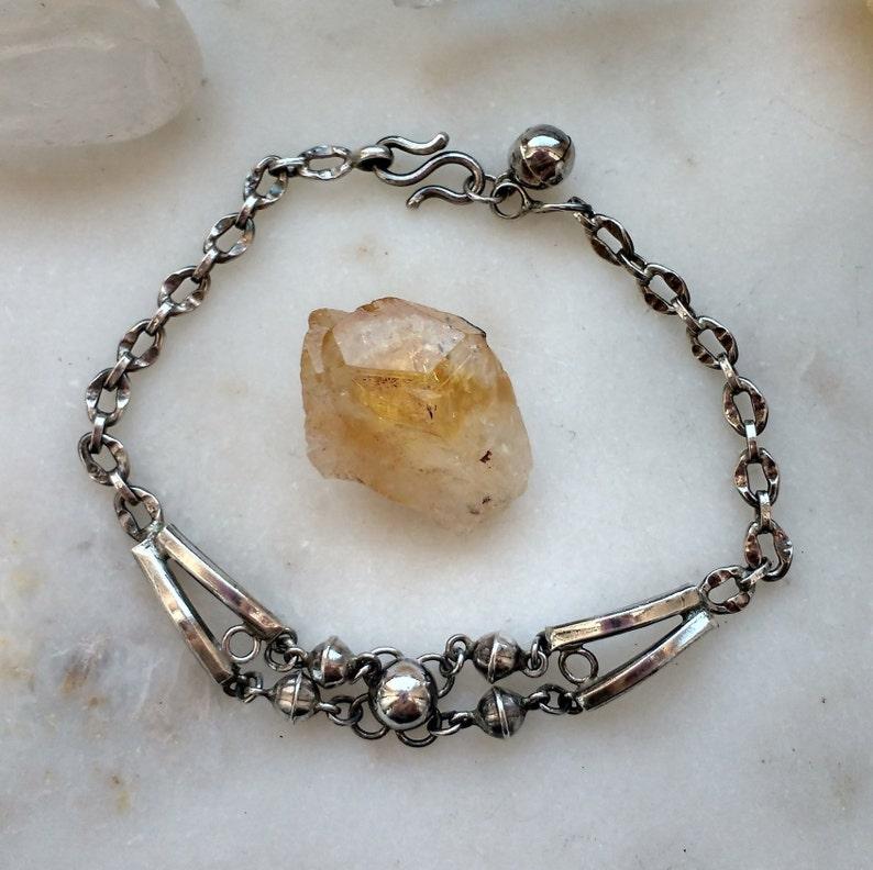 Unique Vintage .925 Sterling Silver Bracelet with Bells Unique Boho Bracelet
