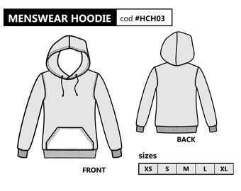 210979f56f566 HOODIE PDF Sewing Pattern   Sweatshirt for men   Sizes from Xs to Xl   Pattern DOWNLOAD   Printable pattern for men   Male hoodie   Layered
