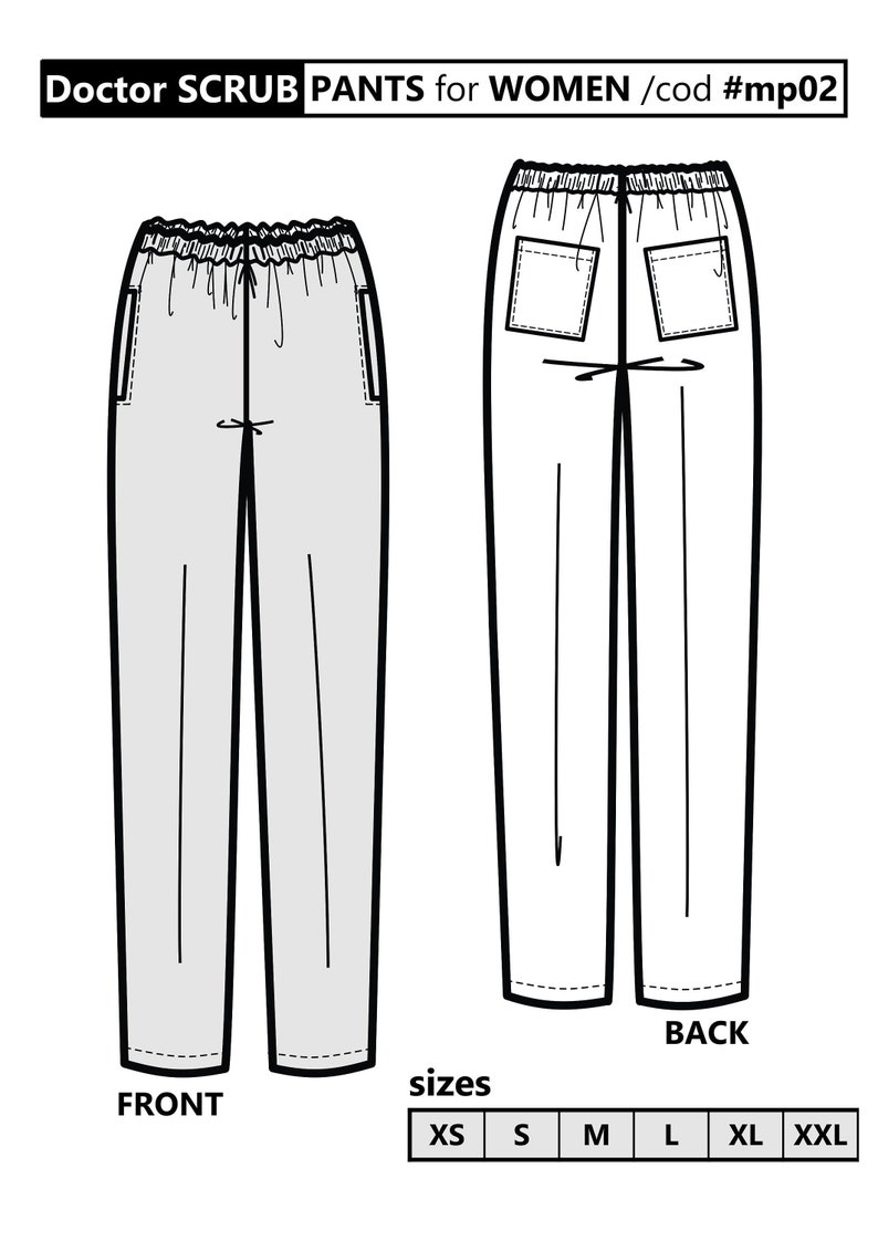 picture about Printable Pajama Pants Pattern titled SCRUBS Trousers / PDF Sewing Behavior for Gals / Nurse uniform Xs in the direction of Xxl / Behavior obtain / Printable pdf practice / Nurse - Clinic uniforms