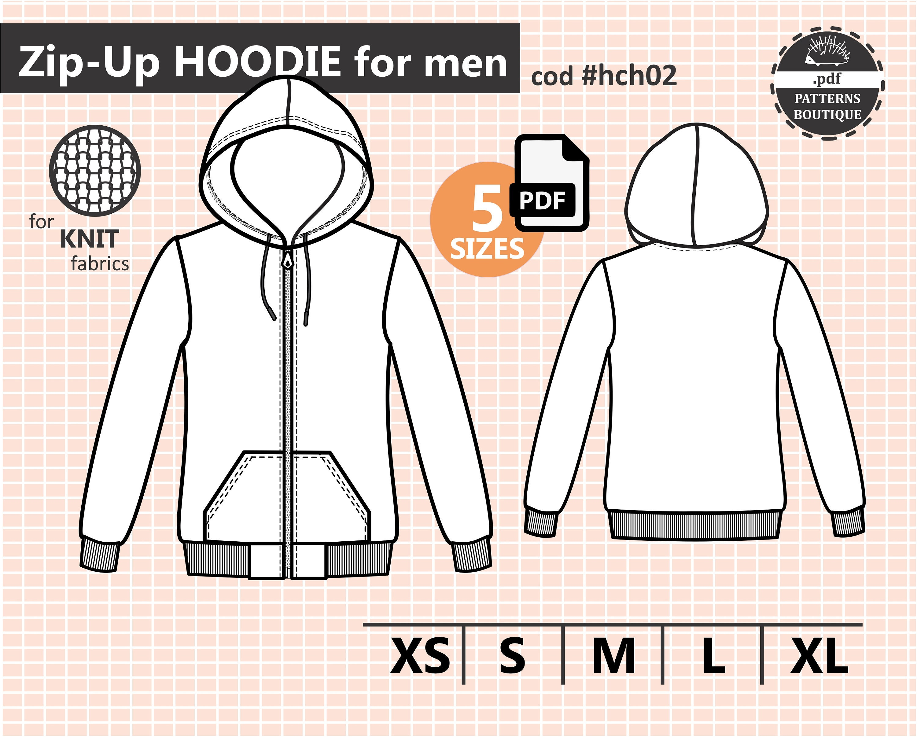 Zip Up Hoodie Pdf Sewing Pattern For Men Sizes From Xs To Xl Etsy