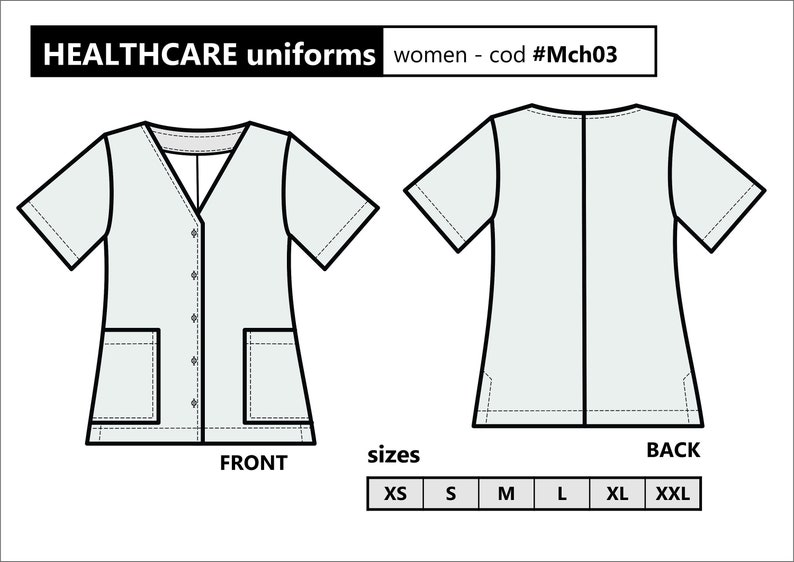 NURSE SCRUBS - Lab Coat / PDF Sewing Pattern for Women: Xs to Xxl / Pattern  download / Printable pattern / Hospital uniforms / Healthcare