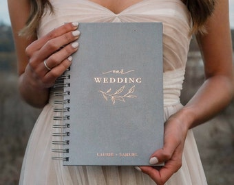 Our Wedding Planner Book / Floral Custom Wedding Planner / Real Gold Foil / Wedding Hard Cover Book / Best Friend Wedding Gift to Bride