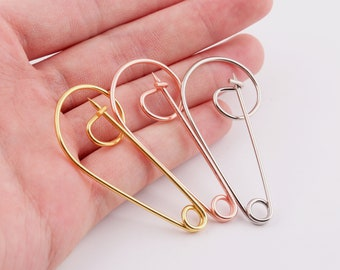 10pcs Jumbo Safety Pins 50mm Large Pin brooch Kilt Pins light Gold Safety pins