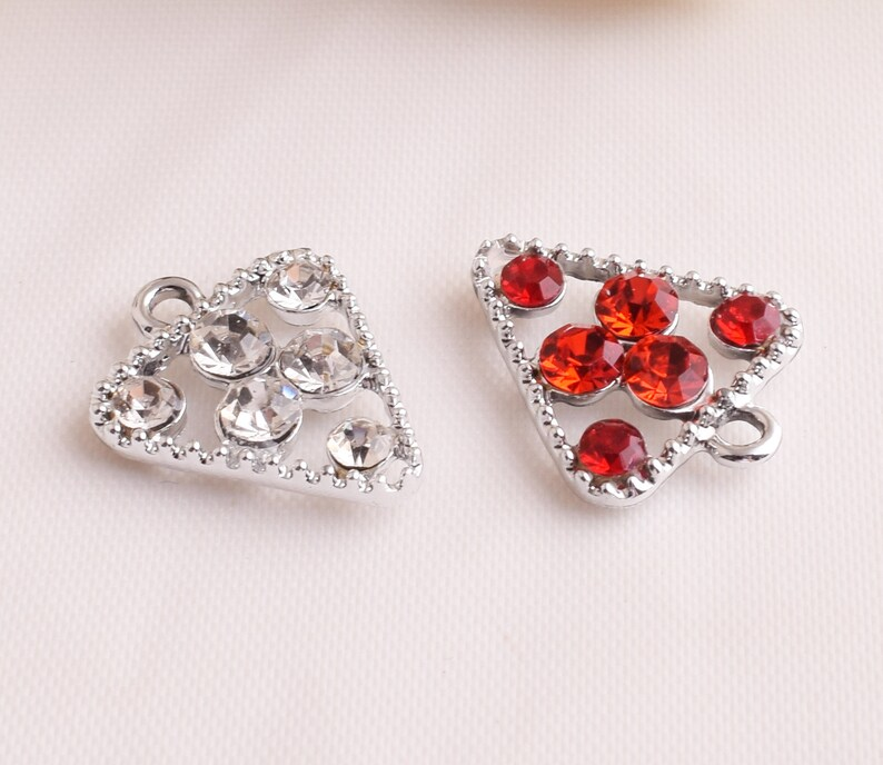 Jewelry Making DIY jewelry,Charm Pendants triangle charm,silver charm,red color charm,irradiate pendant,Jewelry Supplies