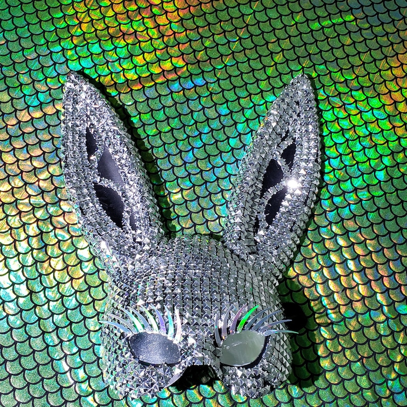 Music Festival Wear Silver Stud Holographic Eyelash Bunny Mask Burning Man Women Carnival Party Rabbit Mask Halloween Costumes Dancer Show