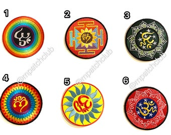 #03 OM AUM DESIGN SYMBOL HINDUISM Embroidered Iron on Patch Free Postage