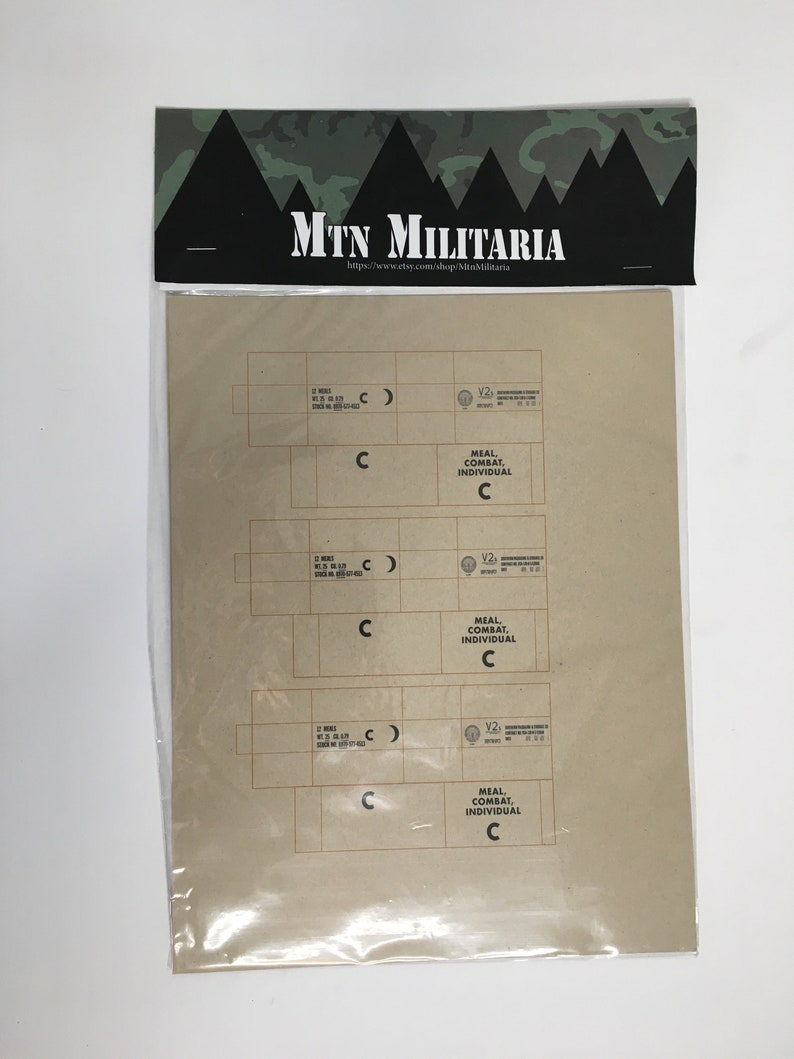 1-12 Scale Vietnam C-Ration Sheets for 6 Scale Toys image 0