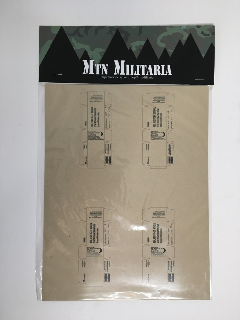 1-12 Scale Meal Ready to Eat MRE Sheets for 6 Scale image 0