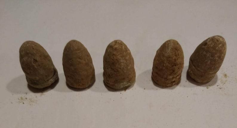 5 Dropped Burnside Civil War Bullets -Group #6B