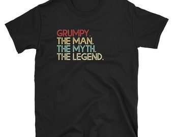 Grumpy The Man The Myth The Legend T-Shirt Retro Vintage Tee Father s Day Gift Sale