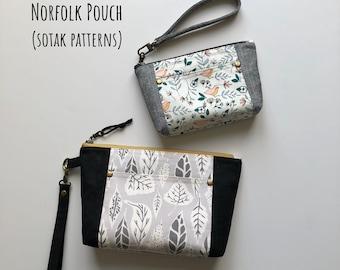 Norfolk Pouch, sewing pattern in two sizes, pdf pattern, instant download, zipper bag, wristlet, sotak patterns, sew, make up bag, clutch