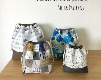 Drawstring Bag, PDF sewing pattern, instant download, four sizes, three styles, bag, project bag, sewing, knitting, sotak patterns, pattern