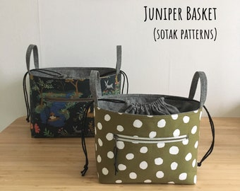 Juniper Basket in two sizes, PDF sewing pattern, drawstring closure basket, instant download, project basket, sewing, sotak patterns, sew