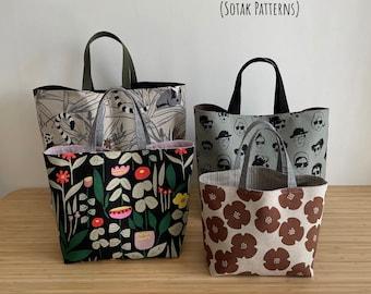Chubby Tote Bag, FOUR sizes, shopper, pdf sewing pattern, bag pattern, instant download, sotak patterns, sotak handmade, gift bag, diy