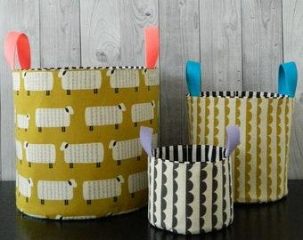 Nesting Buckets, PDF, sewing pattern, three sizes, instant download, pattern, storage, soft storage, diy, toy box, project bag, organization