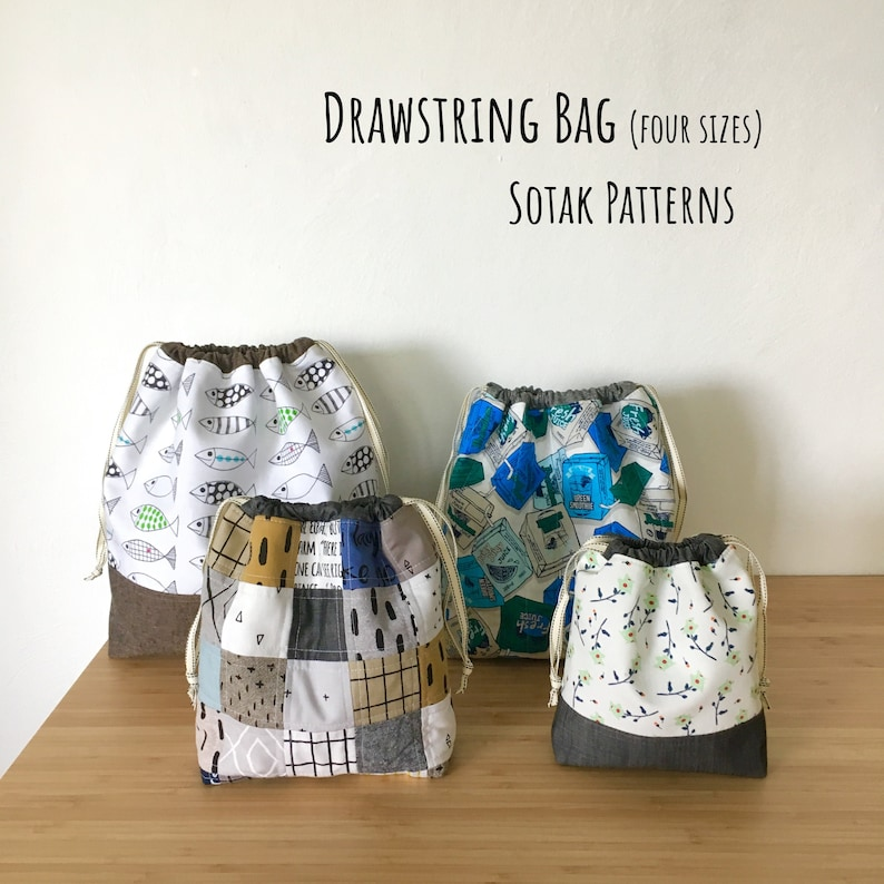 Drawstring Bag PDF sewing pattern instant download four image 0