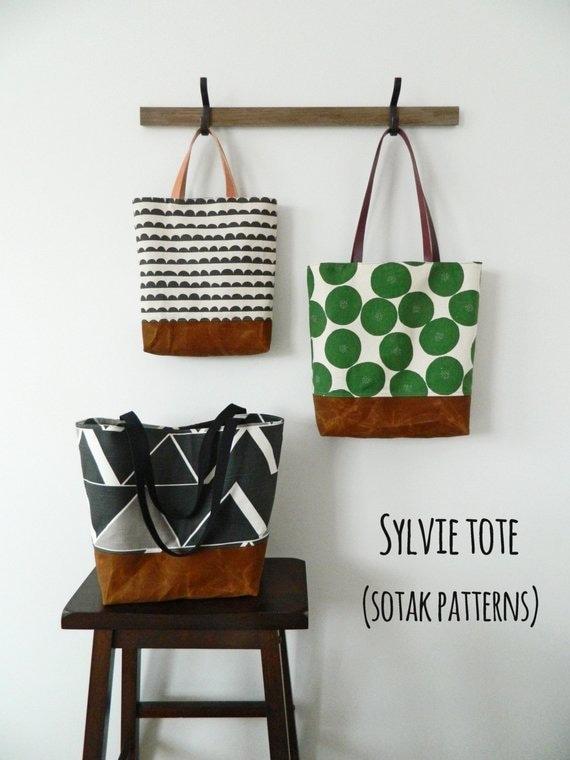 9988bbd035f9 Sylvie Tote pdf bag pattern three sizes tote bag instant