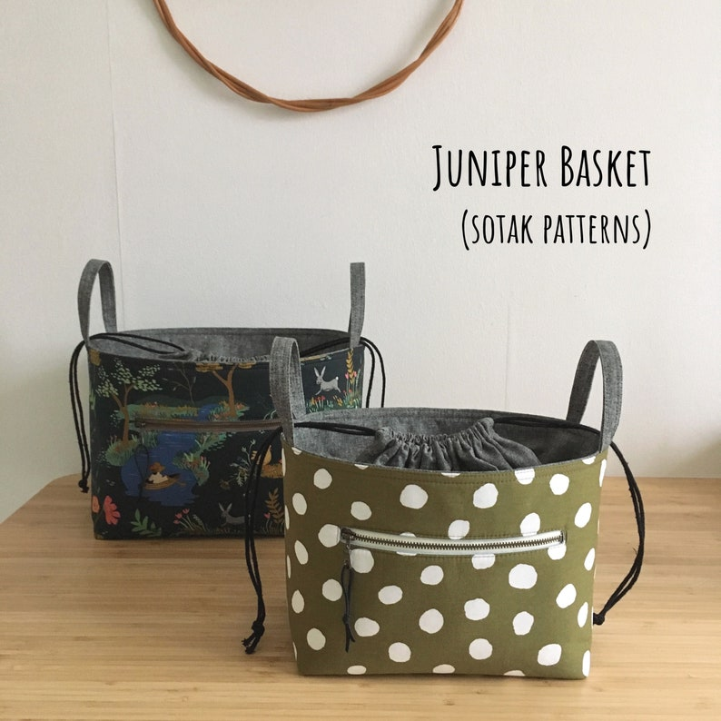 Juniper Basket in two sizes PDF sewing pattern drawstring image 0