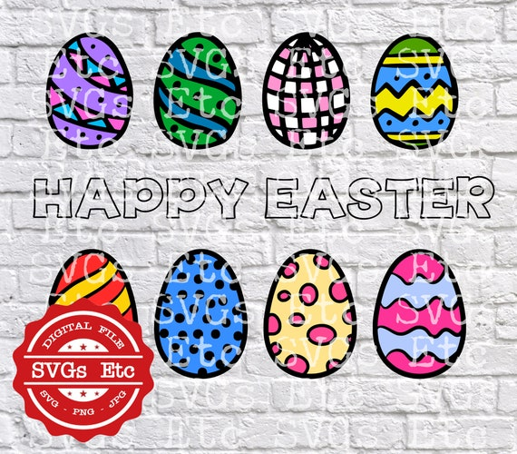 Cricut Decal Banner Happy Easter Digital Download Files SVG PNG Vinyl Header Easter JPG Silhouette