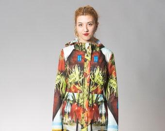 Code: Rain - Crown flower printed raincoat