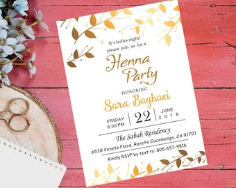 Henna Party Invite Etsy