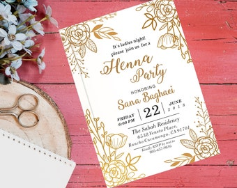 Henna Invitations Etsy