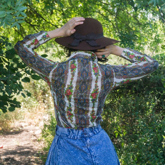 Vintage 70's western floral stripes button up shi… - image 5