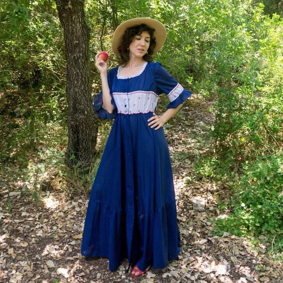 Vintage 60's blue prairie button through dress wit
