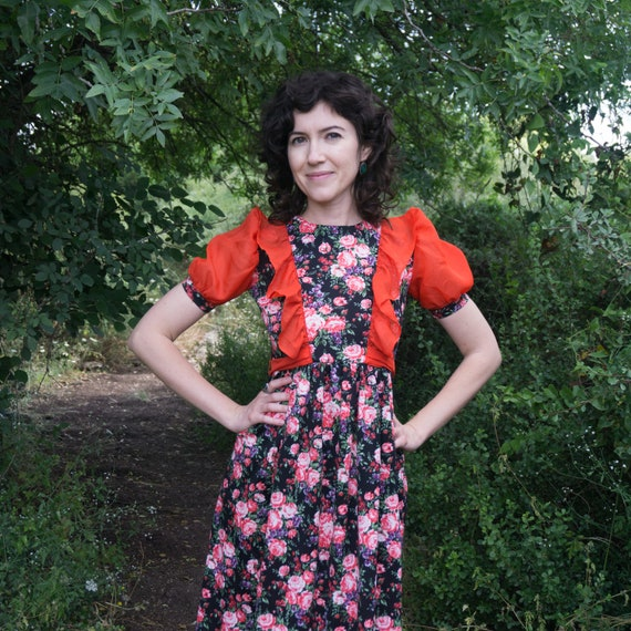 Vintage 60's black floral prairie dress with red r