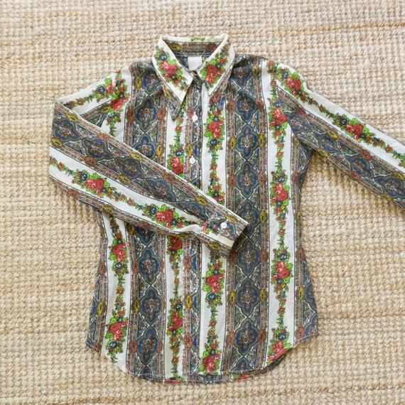 Vintage 70's western floral stripes button up shi… - image 7