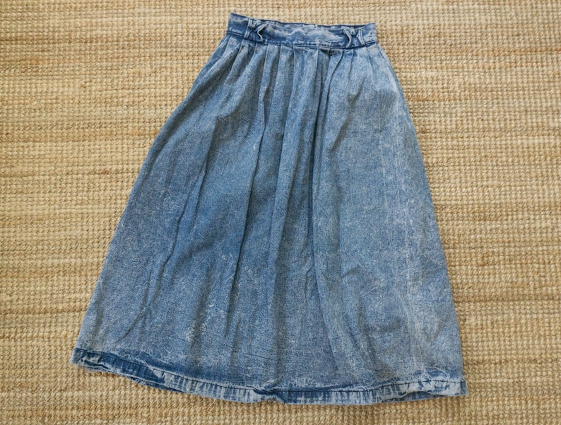 Vintage 80/'s Jack Mulqueen full denim midi skirt with pleats and pockets