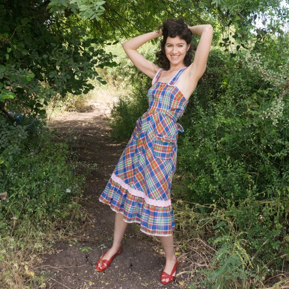 Vintage 70's blue and red checkered apron dress wi