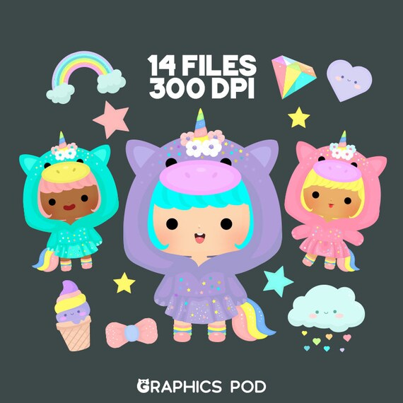 Pastel Unicorn Clipart Pack Stars Candy Unicorn Clip Art | Etsy