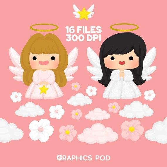 Cute Angels Clipart Set Angels Clipart Angels Clipart Etsy