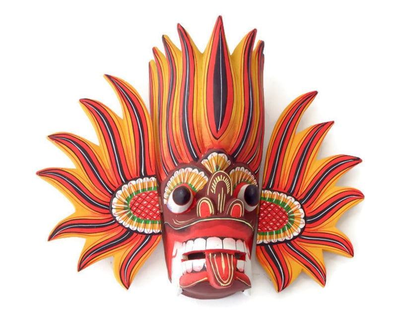 """Hand Carved Wood Wall Decor Devil Face Peacock Traditional Mask Sculpture 8/"""""""