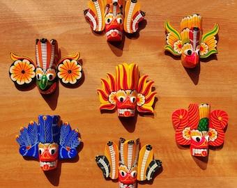 "5 Set of Exquisite Handmade Traditional Sri Lankan Wooden Mask Sculpture 4"" Home Decor, Wall Hanging Art"