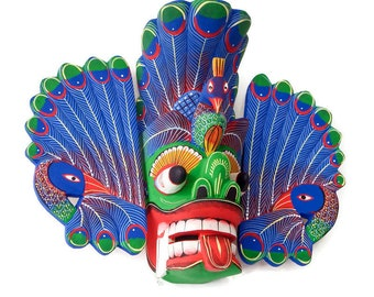 Hand Carved Wood Wall Hanging Vintage Sri Lankan Traditional Peacock Mask Sculpture Collectible (Unique Elegant Gift Home Decor)