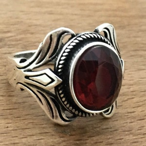 Handmade Silver Men Rings Wolf Ring Ups free express shipping. Unique men ring 925k silver men/'s ring Garnet Stone Ring