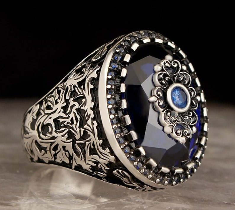 Ups free express shipping. Unique men ring Blue Sapphire Ring Handmade Silver Men Rings
