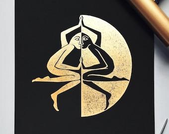 "Shadow Archetype | Original Linocut Print in Gold | 11x14"" | Jungian Psychology Art | Black & Gold | Symbolic Wall Art Print | Individuation"