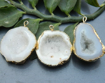elegant discreet and delicate jewel for her gold plated pendant Faux druzy electroplated stone cabochon earrings