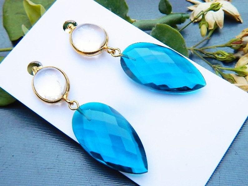 Red Aqua blue and crystal Quartz earring Boho jewelry Beautiful earring Gold electroplated Quartz earring Stud earring gemstone