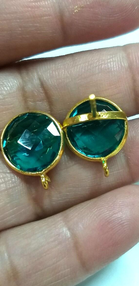 Bezel set,DIY Jewelry supplies Ear-post connector Green Amethyst Quartz Stud Ear-post Gemstone Earpost Bohemein Jewelry Making supplies