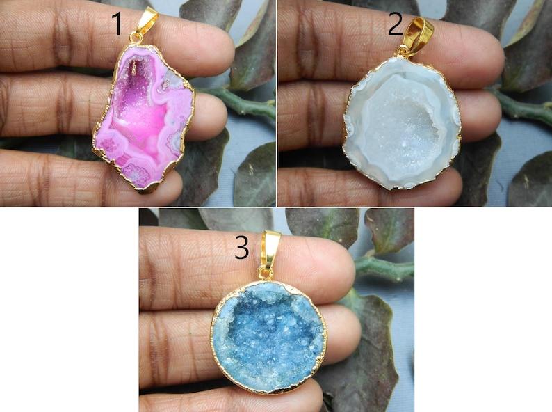 beautiful pendant Gift Pendant Agate pendant Gemstone charm pendant Gold edge druzy agate sale Druzy Caves pendant Electroplated