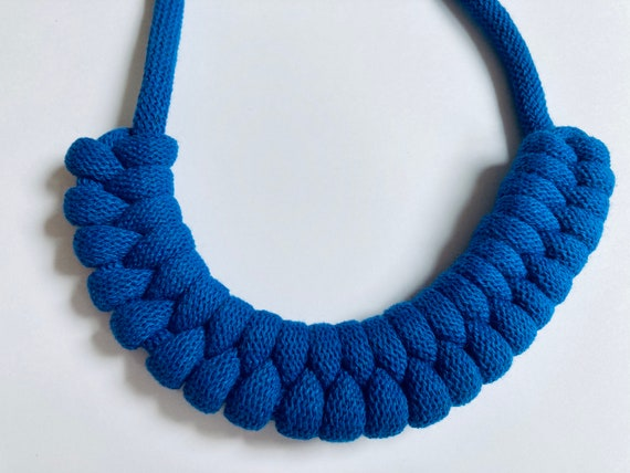 Classic Blue Rope necklace, macrame necklace, statement necklace, bold necklace