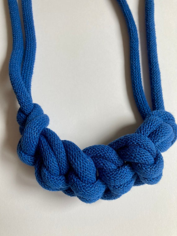 Classic Blue Rope Necklace, bold statement necklace